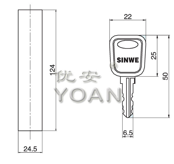 Zinc Alloy PA Material Swing Handle Rod Control Lock for cabinet