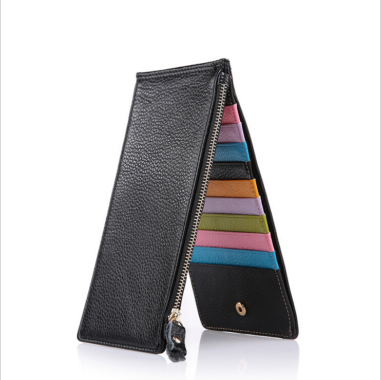 Brand Genuine Leather 20 Card Slot Credit Card Wallet Multi-card Bit Folder Credit Card Holder Long Section Ultra-thin Card Pack