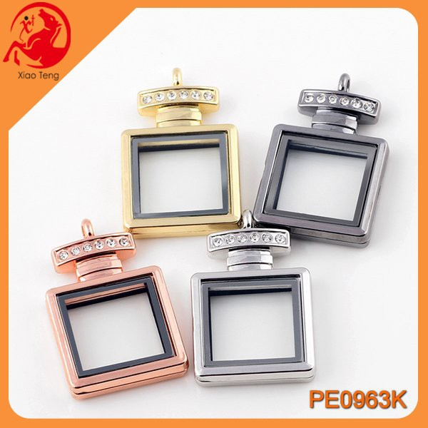 Alibaba wholesale fashion floating square shape crystal locket pendant open memory glass floating locket