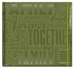 "MBI by MCS Embossed Gloss Expressions 12-Inch by 12-Inch Page Top Load Scrapbook, Green, Embossed ""Family"", 13.2x 12.5 Overall by MBI by MCS Industries"