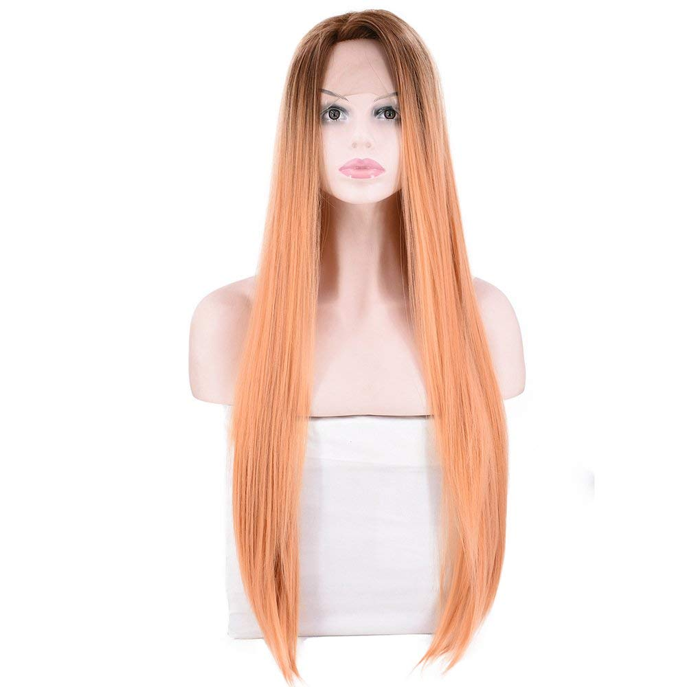 28'' Long Straight Silky Brown Ombre Smoke Pink Hair Lace Front Wigs Hand Tied Heat Resistant Fiber Hair Wigs for Women