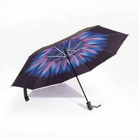 High quality Automatic open 3 folding compact windproof reverse umbrella new design