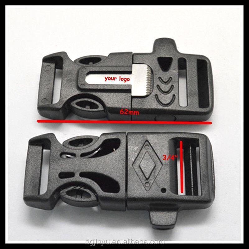 1/2 Curved Whistle Buckles W/ Flint Fire Starter & Striker,Compass ...