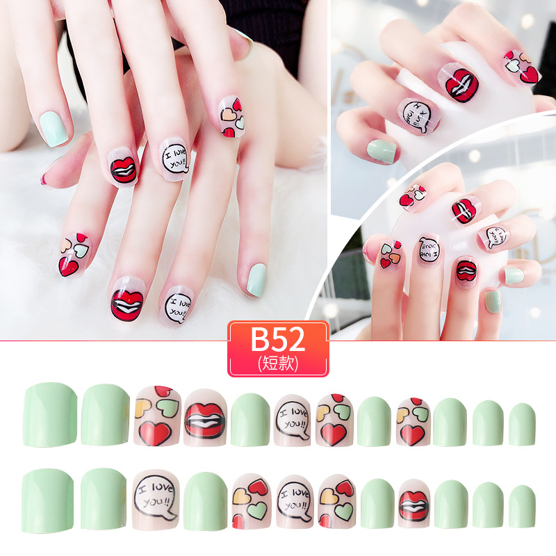24pcs Custom Full Cover Printing  Nail Tips false  Decorated Artificial Nails false nails sets