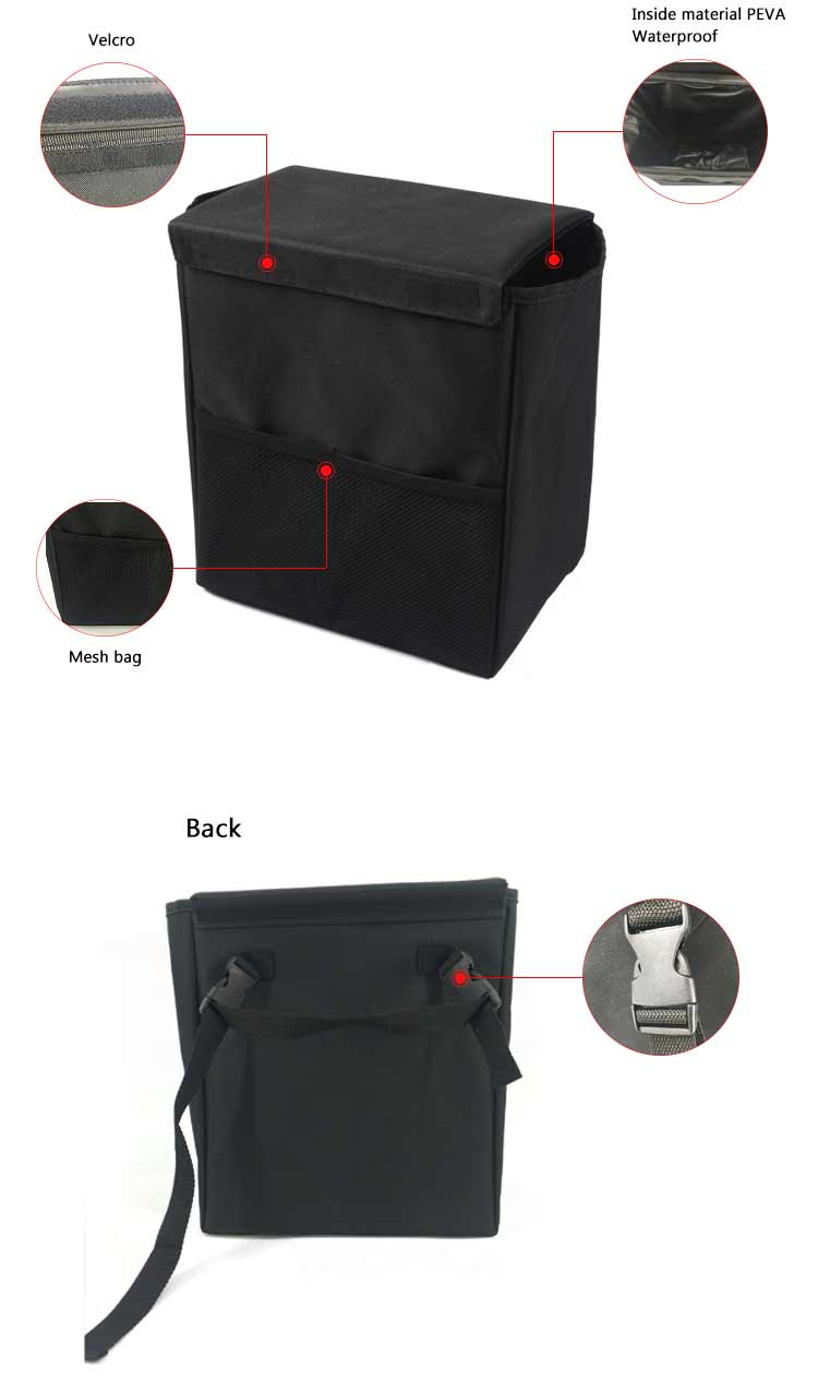 Durable hanging trunk can organizer trash waterproof car trash organizer bag with lid