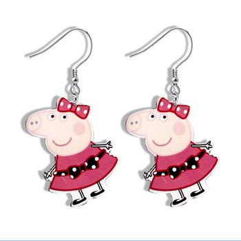 a72195058d9e Lindo piggy acrílico pequeño cerdo de Plata de Ley 925 pendientes de  animales para ...