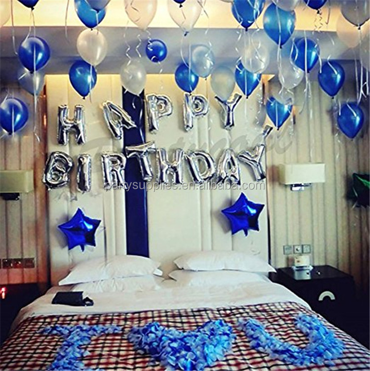 Silver Gold Letter Balloons Happy Birthday Aluminum Foil
