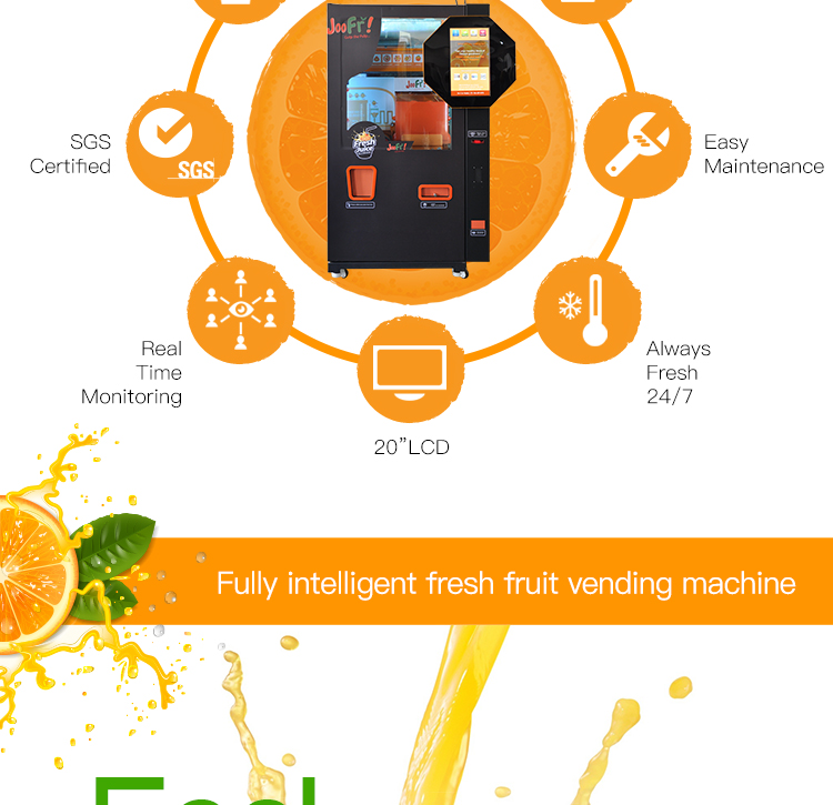 Commercial ozone sterilization fresh fruit wifi orange juicer vending machines automatic juicer machine