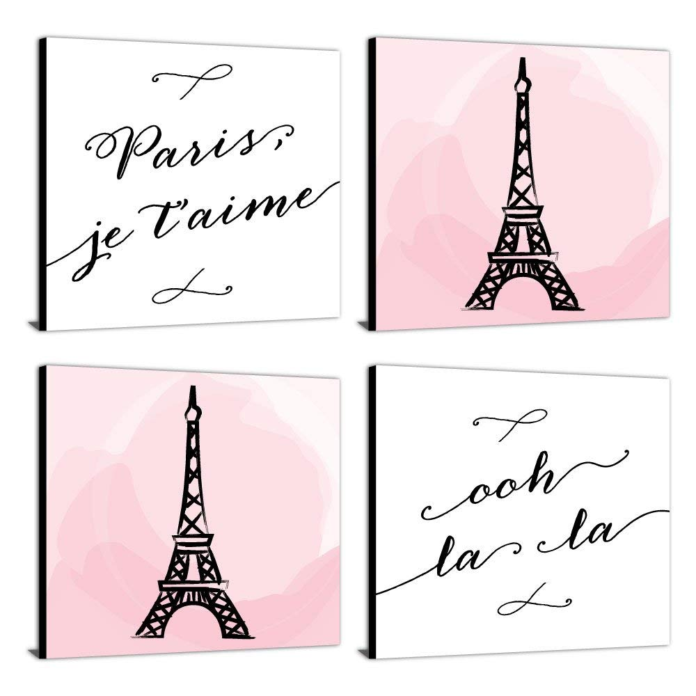 "Paris, Ooh La La - Kids Room, Nursery & Home Decor - 11"" x 11"" Kids Wall Art - Set of 4 Prints"