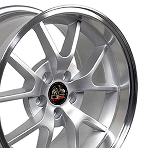 18x10/18x9 Wheels Fit Ford Mustang - FR500 Style Rims - Silver w/Mach'd Lip - SET