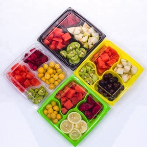 4 compartment 750gpack disposable plastic fruit tray salad packing tray