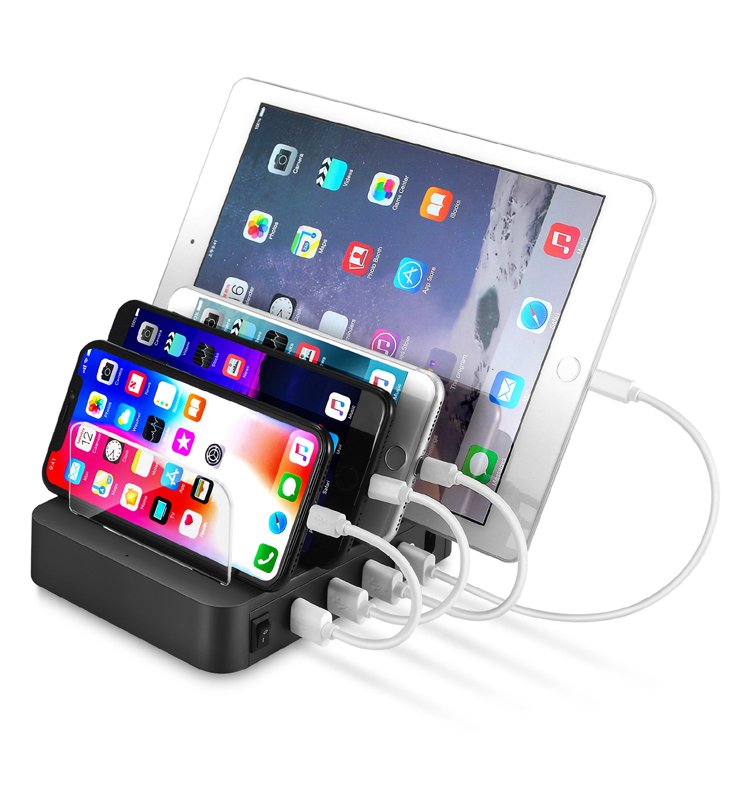4.8A 24W 4 Port USB Fast Docking Charging Station for Galaxy S8, S7, S6, Note 8, Note 7