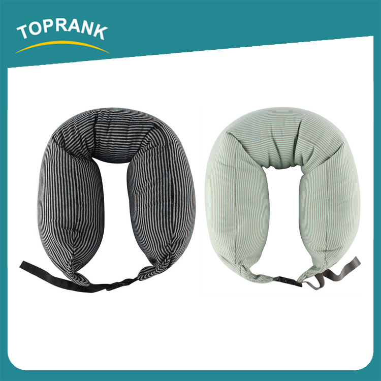 Toprank Multifunctional Inflatable Back Support Pillow Travel Body Neck Microbead Pillow Bolster With Adjustable Strap