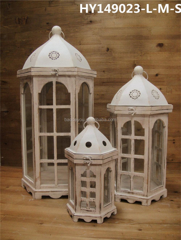 White wash wooden lantern wood lanterns for candles buy for Wooden garden lanterns