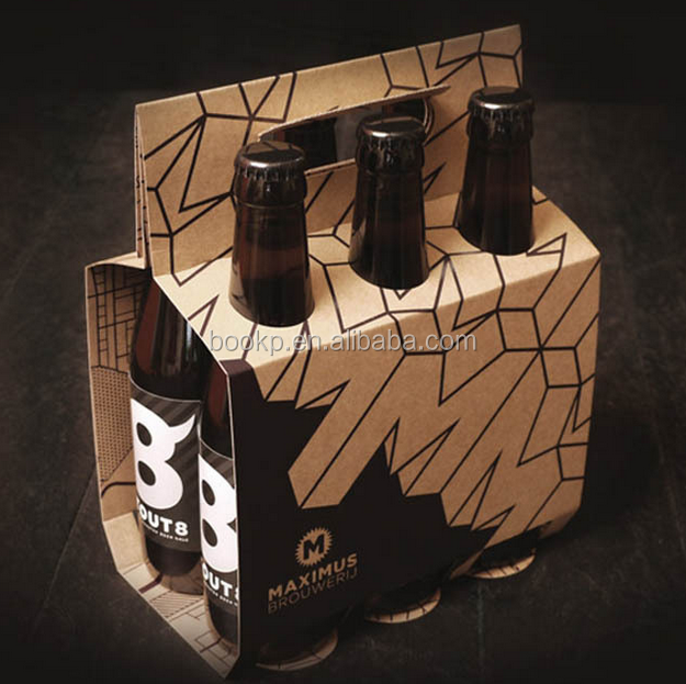 custom corrugated paper 4/6 Botter beer/wine pack carrier box with handle