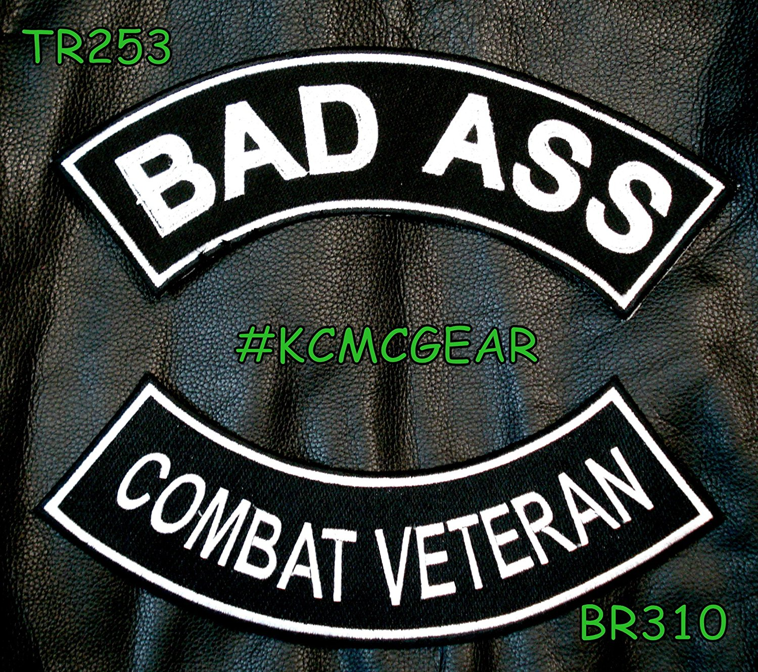 Military Biker Patch Set Bad Ass Combat Veteran Embroidered Patches Sew on Patches for Jackets