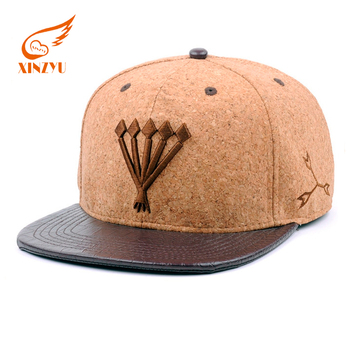 ff3be844934 Custom Cork Snapback Hat Wholesale Plain Leather Brim Embroidered Snapback  Hats