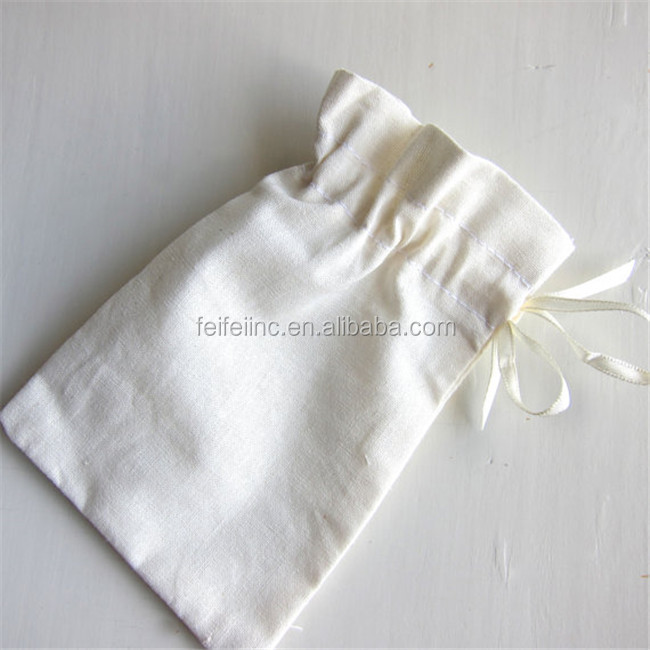 Customized Logo Handmade Drawstring 100% Recycled Cotton Jewelry Bag