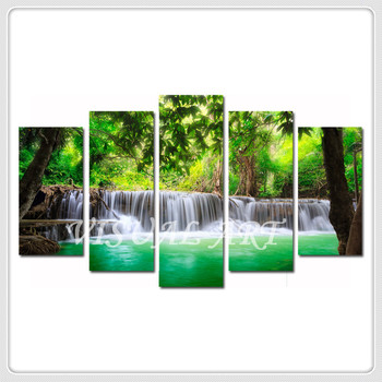 0196adfd5 Nature Green Forest Waterfall Trees Scenery Canvas Wall Art Prints  Wholesale Modern Home Decoration
