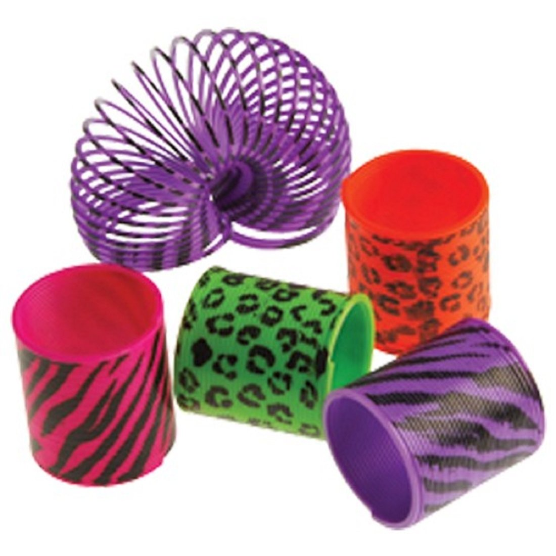 Dozen Assorted Animal Print Plastic Mini Springs