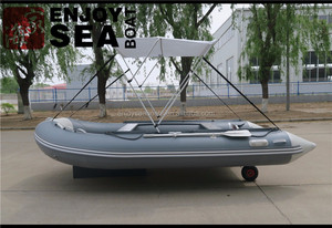 CE certification and aluminum floor Inflatable sport boat with tent and wheels for sale!!