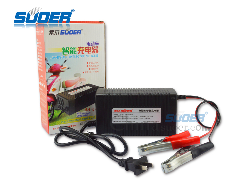 Suoer 12 Volt Battery Charger For Electric Motorcycle 50a Smart Car