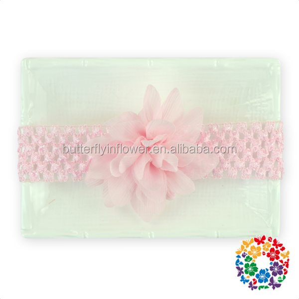 Cute Pink Chiffon Flower Crochet Baby Headband Wholesale Fashion Hair Designs Band Kids Gilrs Headband