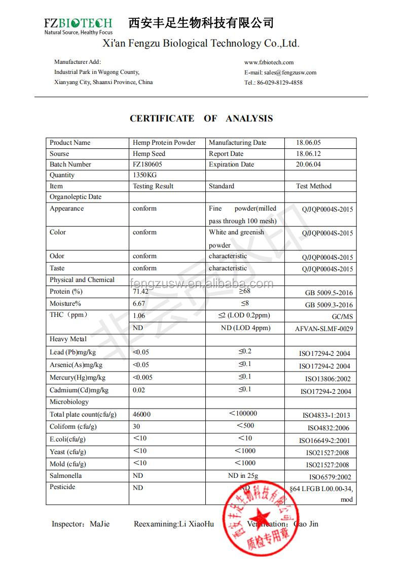 ISO Factory Bulk Hemp Seed Protein, Low Price 70% Hemp Protein Powder