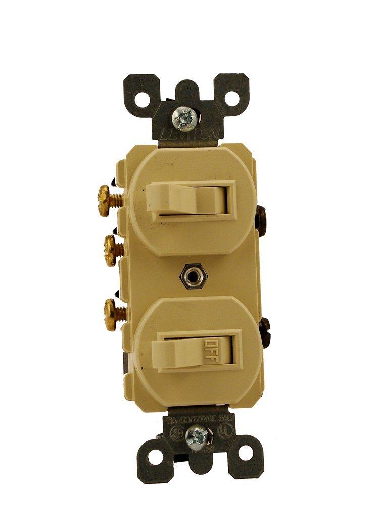 Leviton 5241-I 15 Amp, 120/277 Volt, Duplex Style Single-Pole/3-Way Ac Combination Switch, Commercial Grade, Ivory