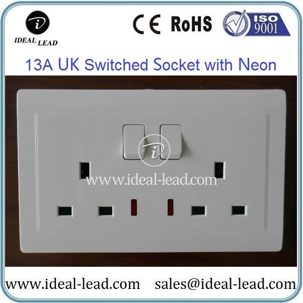 13A UK Switched Socket with Neon