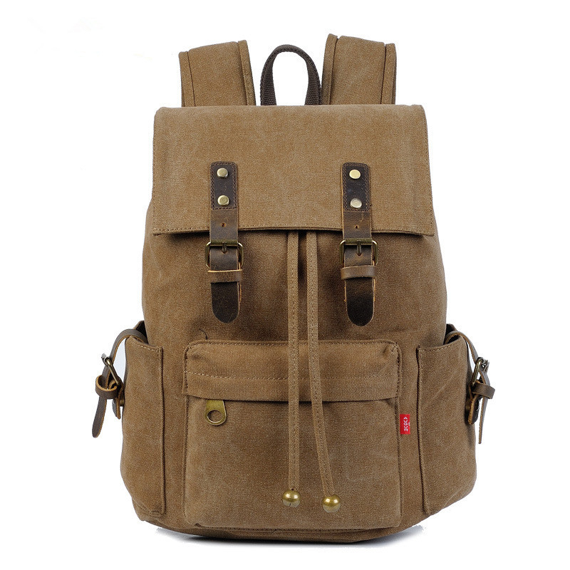 bfbdd6c2231a Get Quotations · Black Canvas Backpack Men Genuine Leather Military Backpack  Girl Vintage High School Backpack Women Laptop Backpack