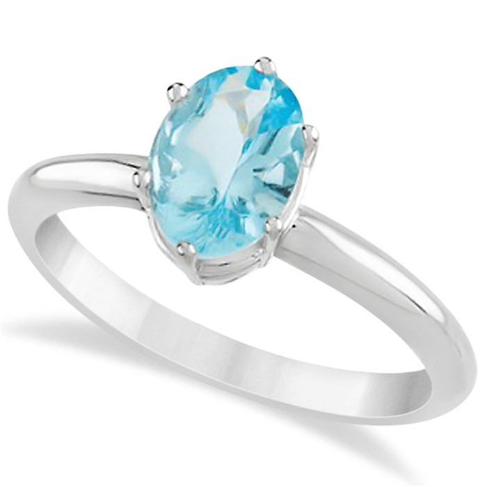Circle Shape Blue Stone Cz Stone Silver Ring
