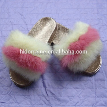 d56a506c3 Women's Summer Fox Fur Slipper Flat Beach Sandals Hot Female Shoes Plush Furry  Slides Outdoor Shoes