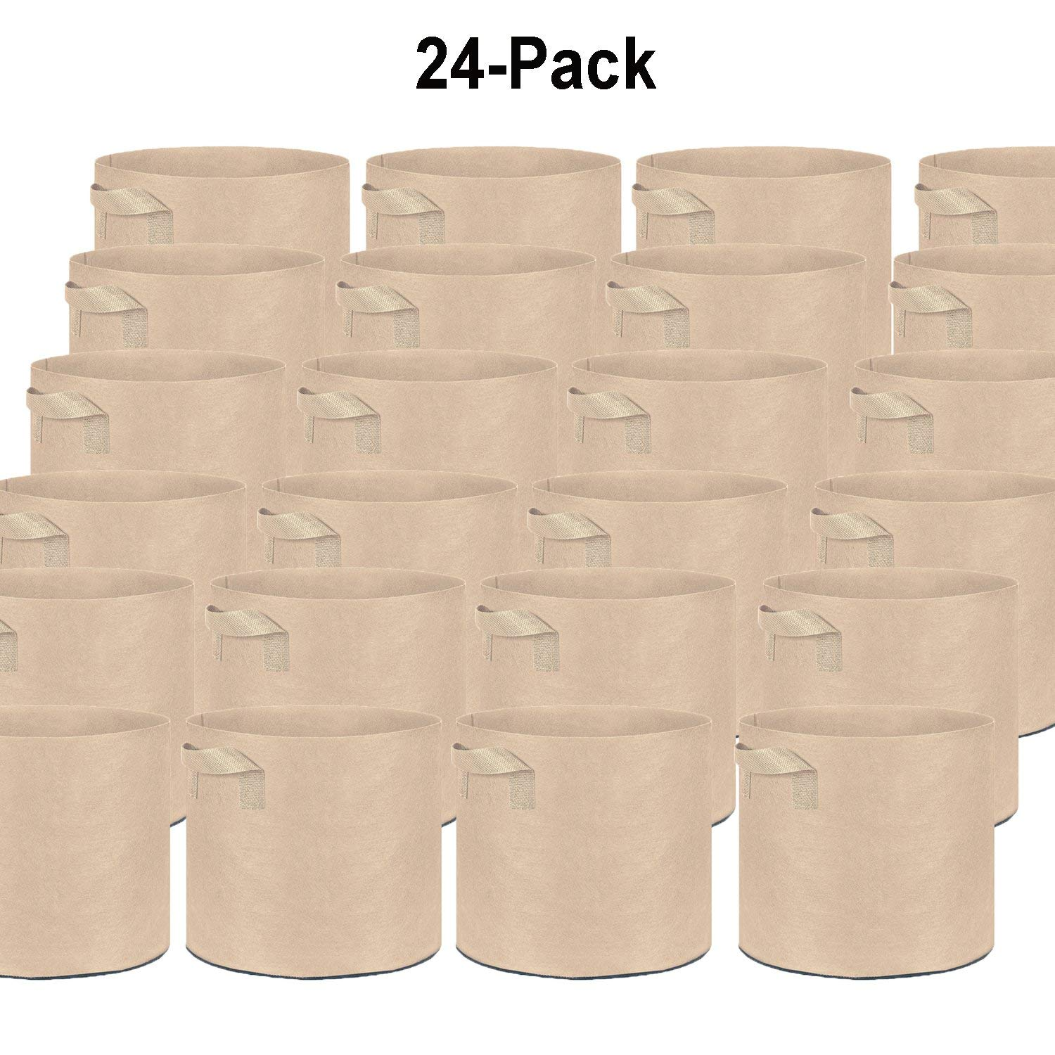 Oppolite 24-Pack 25 Gallon Tan Grow Bags Pots Heavy Duty Fabric Aeration Fabric Pots Grow Bags W/Handles (24, 25 Gallon)