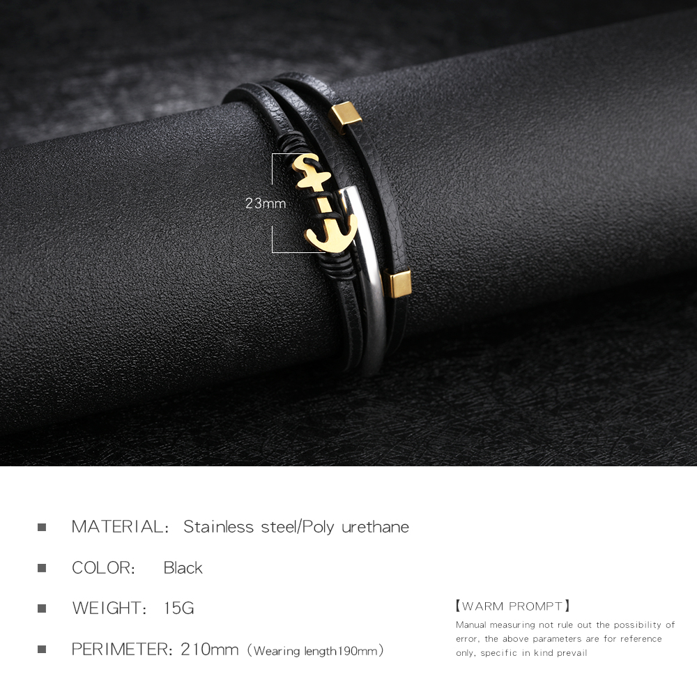 Fashion Accessories Gold Plated Stainless Steel Anchor Design Real Leather Mens Bracelets