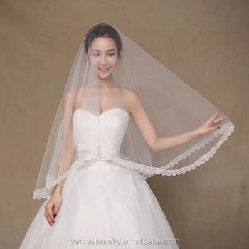 1 5m In Stock High Quality Whole Pure White Wedding Veils Lace Trim Accessories Bridal
