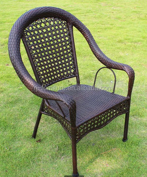 High Back/Rattan/Wicker Weave Chair/knit By Handicraft/Antique Iron/