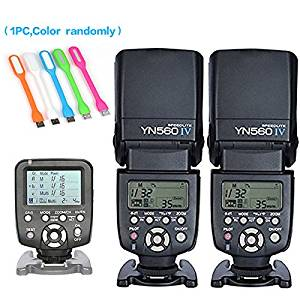 Yongnuo 2PCS YN-560IV Manual Flash Speedlite Light + YN560 TX LCD Wireless Flash Trigger Remote Controller For Nikon DLSR Cameras+Huihuang USB LED free gift