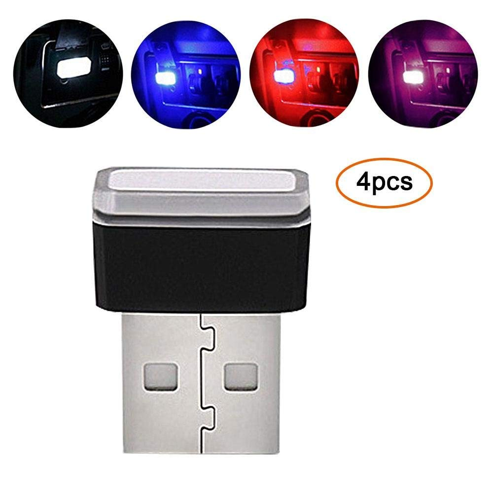 Aolvo 4 PCS Car USB Atmosphere Light, Mini Wireless USB Led Car Interior Lighting Kit Car Styling Decoration Lights Car Led Car Foot Lamp