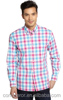 Blue And Red Gingham Check Cotton Long Sleeve Shirt(201411100)