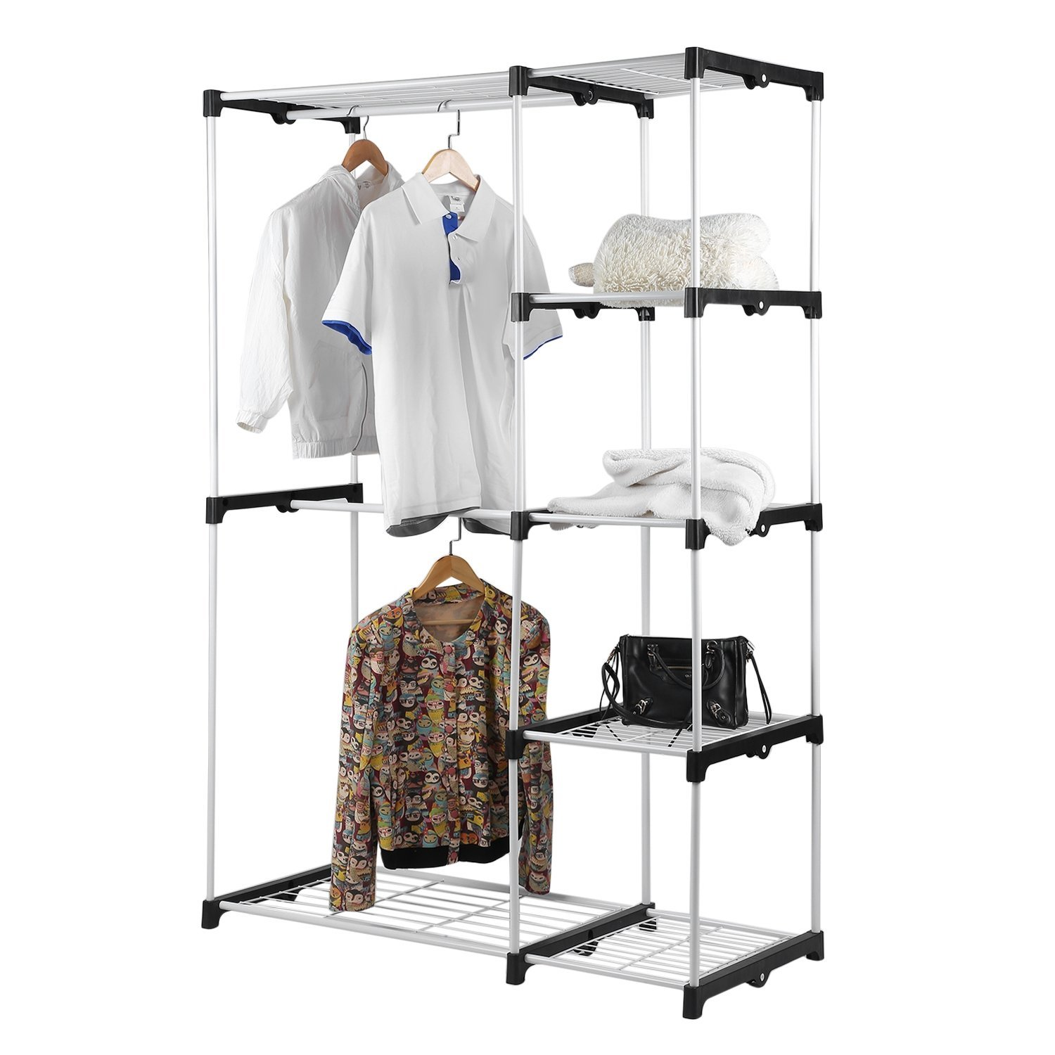 Get Quotations · Steel And Resin Frame Double Rod Closet Wardrobe Free  Standing Sturdy Garment Rack Clothes Storage Organizer
