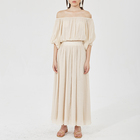 Fashion Casual Women Clothing Suit Off Shoulder Pleated Top Shirt and Long Skirt