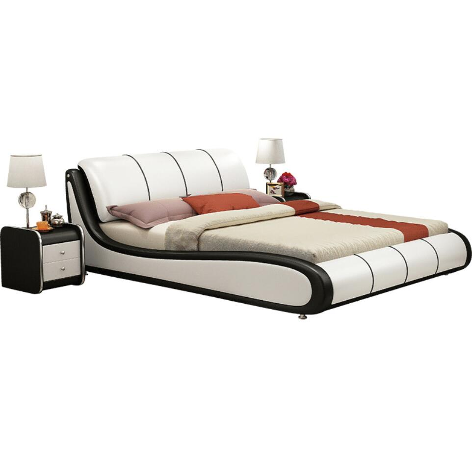 Customize Queen King Full Size Bed S Shape Genuine Leather Modern Headboard Solid Wood White Soft Beds