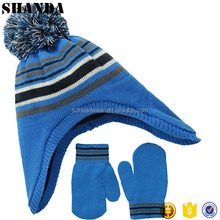 Wholesale Custom knit scarf and mitten sets polar fleece scarf hat glove set kids hat and golves set