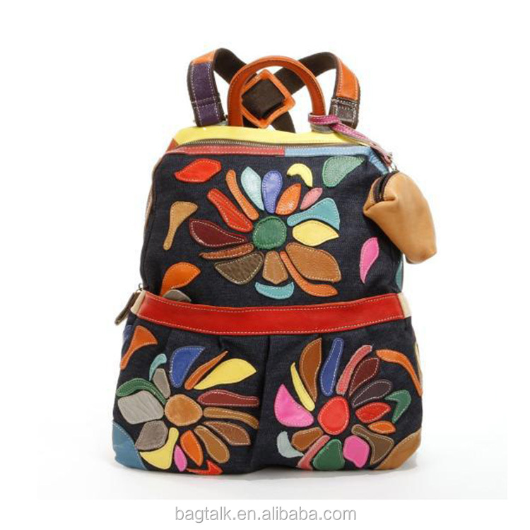 Wholesale Trendy High Quality Bangkok Hiking Backpack Canvas School Bag with Coin Bag