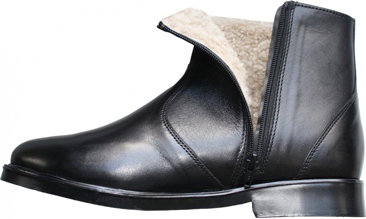 Gents Leather boots with real lamb fur lining Black