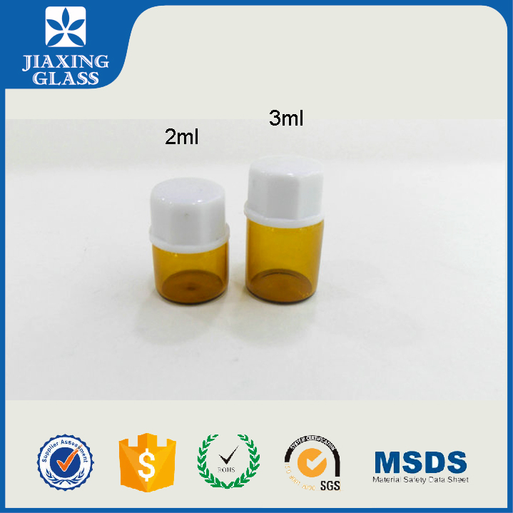 2ml 3ml Small Glass Vial Amber Empty Plastic With Screw Cap For Personal Care