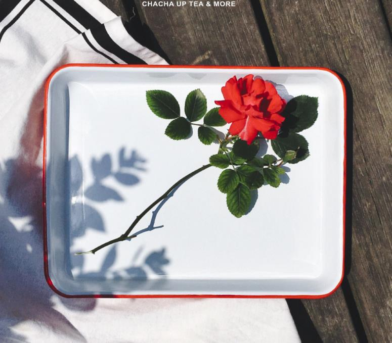MET03 (High) 저 (Quality Twin 색 2 색 metal enamel tray 로스트 베이킹 및 빵 식품 storage container 차 tray
