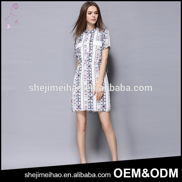 Summer Women Cloth One Piece Dress Vintage Style Stand Collar Floral Printed Short Sleeve Dress