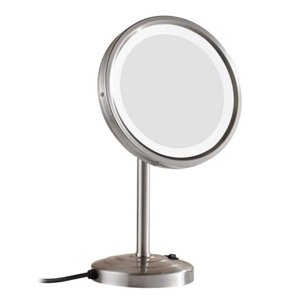 LIUJIANGLONG Bathroom Tabletop LED Lighted Vanity Mirror Copper frame and Stainless steel base Desktop 8.5 inch cosmetic mirror,silver gray